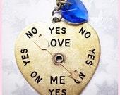 Loves me, Loves me not heart shaped pendant Necklace Blue