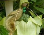 SALE Beautiful Green Flower Fairy with bonnet, miniature waldorf doll SALE RESERVED