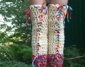 Really loooooong or nice and scrunchy rainbow and white crochet legwarmers