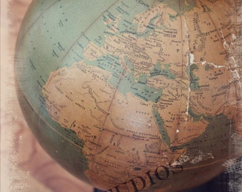 Around the world II Choose your size fine art print Map Globe Vintage Antique Rustic