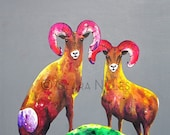 Miniature Archival Watercolor Paper Print, Rainbow Rams on Flannel, 4.5x4.5, Bighorn Art, Pinks, Reds, Fuschia, Yellow,  Vibrant Colors
