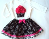 Ultimate Cupcake Twirl Skirt Set - Cherry Swirl and Zebra - Sizes 12 mos., 18 mos., 2T, 3T, 4T and 5T