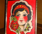 Vintage Style Traditional American Hand Painted Gypsy Framed Tattoo Flash