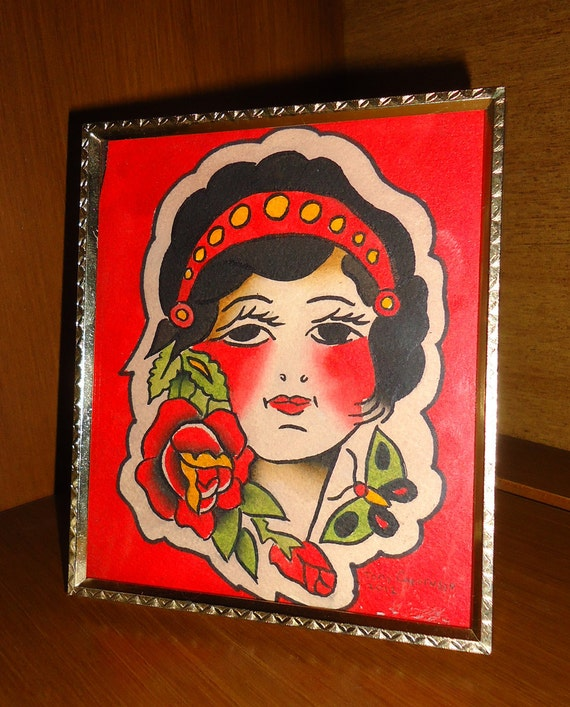 Vintage Style Traditional American Hand Painted Gypsy Framed