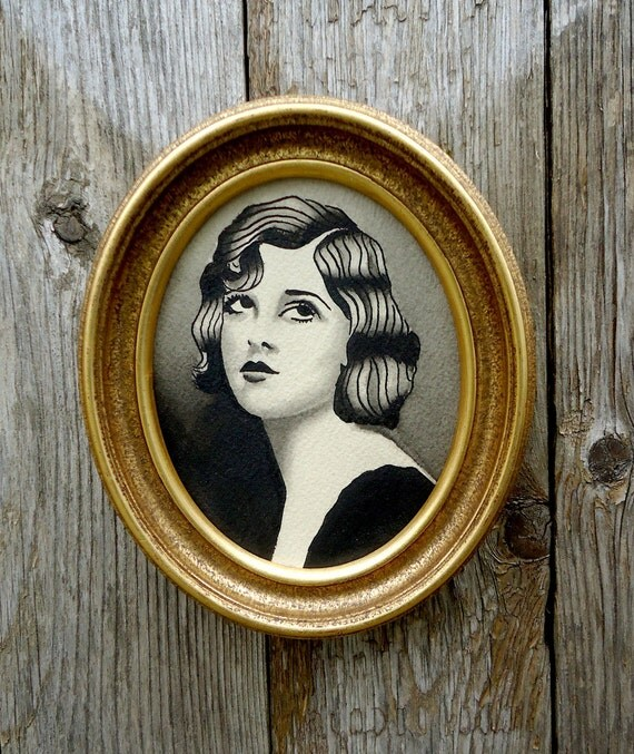 Antique Style Hand Painted Custom Water color Portrait Painting 1930's Flapper Girl