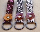Fabric Key fob,Keychain,Strap Aone - Fabric A 002 - Love in Brown Flower
