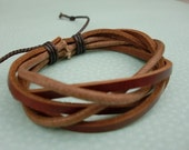 Spicy V Twist Leather Bracelet And Waxed Cotton Cord