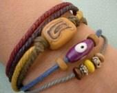 Fisherman XVIII Color Cotton Cord Bracelet\/Yellow\/Green\/New Design 2009\/Anklet