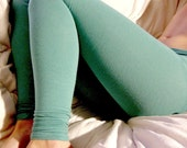 Soy and organic cotton leggings in soft turquoise