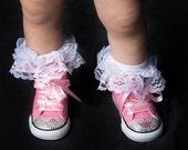Swarovski Crystal Posh Pink Princess Hi-Top Converse Shoes