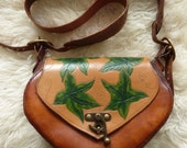 Handcrafted Leather Bag featuring green carved leaves