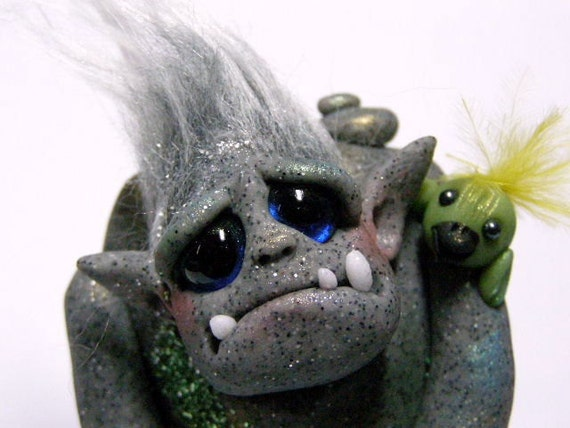 "OOAK Stone Golem Troll with Goblin Bird ""Humble and Tweets"" by Amber Matthies"