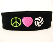 Monogrammed Headband Peace, Love, Volleyball - shown on Black Headband
