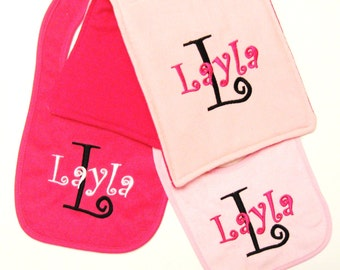 Gift Set Monogrammed Baby Bibs and Burpcloth - Pinks