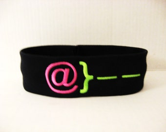 Monogrammed Headband  - Text Rose - You Pick Colors - Choose From 20 Headband Colors