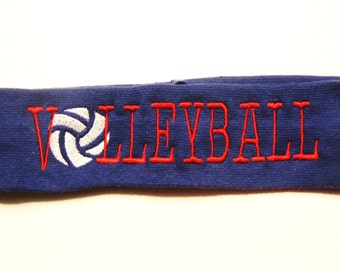 Embroidered Volleyball Headband - Choose Headband and Thread Color