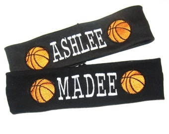 Embroidered Basketball Headband - Pick Headband Color and Thread Color for Name - Embroidered with BasketBalls and Name
