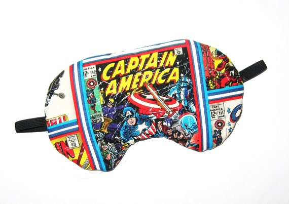 Captain America Sleep Mask - Comes as Shown - Handmade - Fits Kids to Adults