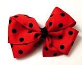 Red and Black Polka Dot Hair Bow