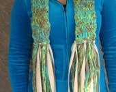 Soft Lime Green,Turquoise and Copper Brown Scarf, Brown Beads and Ribbon added to Fringes