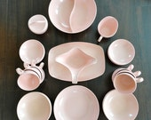 Melmac dinnerware 30 pieces of PINK mid century from the 1950s