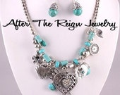 Turquoise Metal and Gemstone Charm Necklace and Hook  Earrings