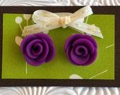 Violet Rosette Earrings