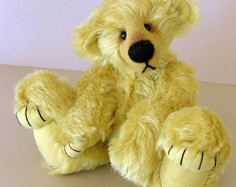 "7"" Bear PDF Pattern ""Butternut"" teddy with pulled toes and sculped paws. Artist designed diy collectable bear"