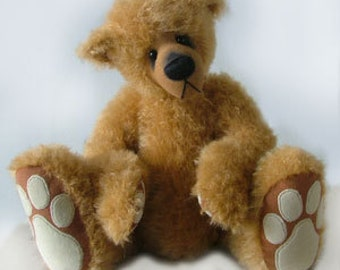 "PDF Bear Pattern ""Brandy"" Designer jointed teddy with big feet and sculpted face"