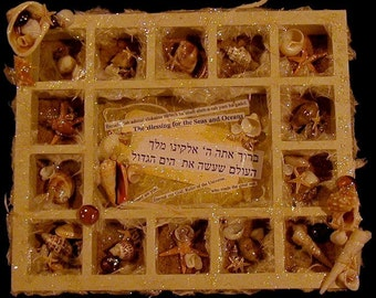 Oceanside, Jewish blessing, 3D Mixed Media Collage  Assemblage (original)