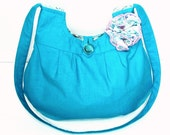 Cotton Hobo Purse, Shoulder Handbag, Turquoise Blue, Handmade