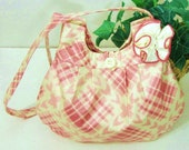 Cotton Hobo Purse, Dusty Rose, Ivory, Glazed Print Fabric, Handmade