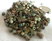3x3mm Opaque Khaki Miyuki Cube Beads, 10gr