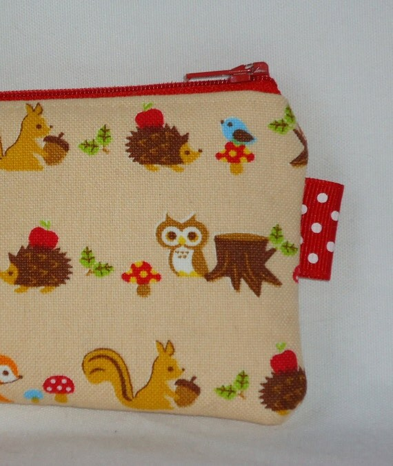 Forest Cuties Padded Pencil Case --- Beige