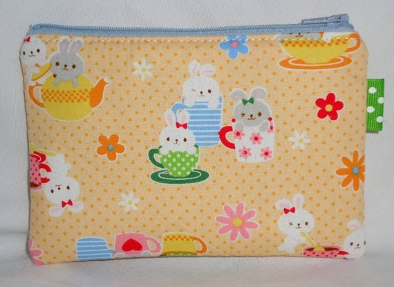 Medium Padded  Zippered Pouch Kawaii Teacup Bunnies --- Yellow (Camera / IPod / Cell Phone Case)