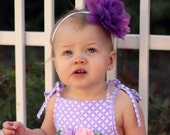 Sweet Silky Iridescent Fluff on a White Stretch Headband--Available in Infant to Adult Sizes