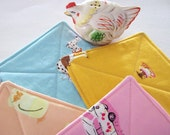 Sale - Set of 4 Quilted Reversible Quilted Coasters - Cute and Quirky