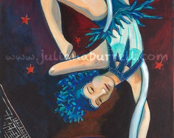 Giclee Art Print from Original Acrylic Painting entitled Circus Girl on Web Over Net - 12x24 inch