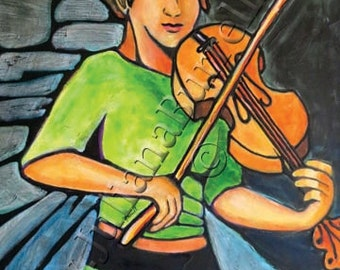 Greeting Card from Original Acrylic Painting entitled Quiet Time Violin, 5x7 inch - 10 CARDS