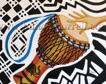 Greeting Card from Original Acrylic Painting entitled David's Djembe - 7x5 inch - 10 CARDS