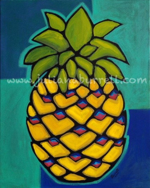 Giclee Art Print from Original Acrylic Painting entitled Yellow Pineapple - 8x10 inch