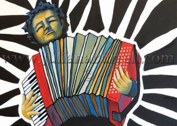 Greeting Card from Original Acrylic Painting entitled Wierhake's Accordion - 7x5 inch - 10 CARDS