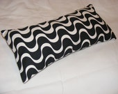 Contemporary Black and White Monochrome Wave Print 9x18 Inch Rectangle Cotton Cushion Cover Pillow case