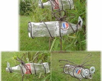 Hanging Recycled Garden Art Pepsi or Coke Pop Bottle Dragonfly  by junkfx