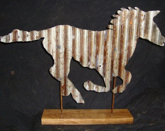 Antique Roofing Tin Horse W/Wood Base Made In Iowa byJunkFX  Free Shipping