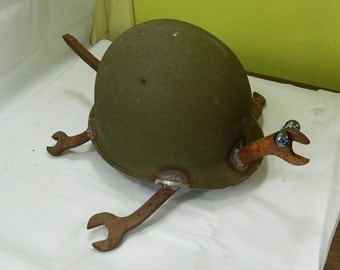 Antique army Helmet Turtle by JunkFX FREE SHIPPING