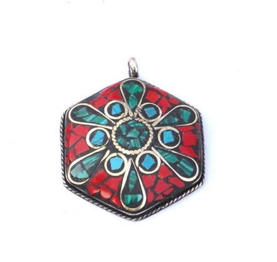 handmade Ethnic ,oxidized ,bollywood  RED coral  and turquoise blue gemstones chips Pendant .