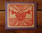 valentine card, heart and birds print, red and purple
