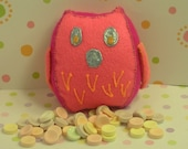 Owl Plushie Tooth Fairy Pillow Money Holder Pink Magenta Orange and Blue
