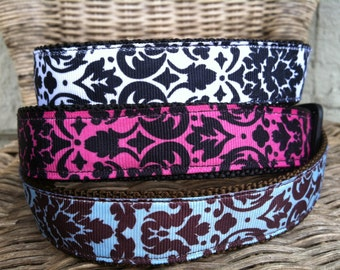 Pink, Blue or Black and White Damask Large Dog Collar